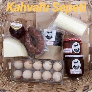 köy ürünleriyle hazırlanmış köy kahvaltısı sepeti